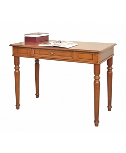 decorated desk in wood, wooden desk, writing desk, turned legs desk, study room desk, wooden furniture, classic style desk, Arteferretto furniture, Arteferretto desk
