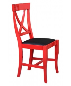laquered chair, red chair, chair with black leather, wooden chair,