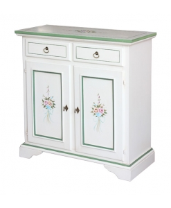 sideboard with hand painted design, sideboard, lacquered sideboard, wooden sideboard,