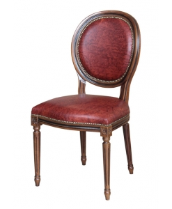 chair with leather seat, chair, wooden chair