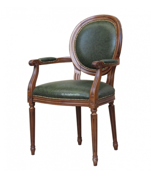 Classic armchair with leather, SKU: 1385
