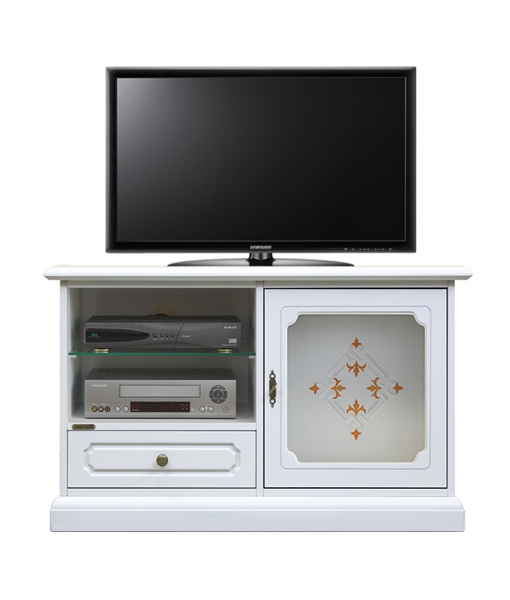 Decorated glass door tv unit for living room. Sku 14002