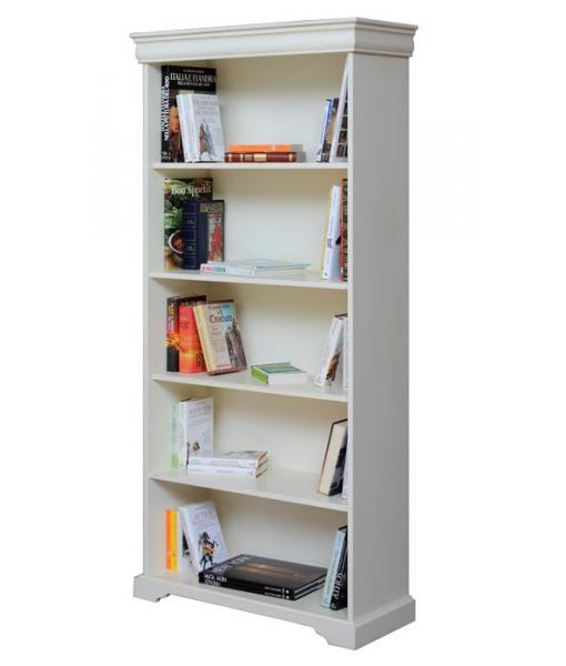 Louis Philippe open bookcase, White bookcase, classic bookcase, lacquered wood, wooden bookcase, living room bookcase, living room furniture