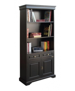 black lacquered bookcase, black bookcase, wooden bookcase, bookshelf for living room, bookshelf