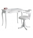 white desk and chair set, wooden desk, desk and chair, office furniture, study room furniture, classic desk