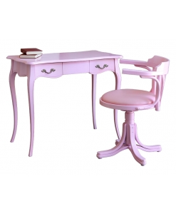 pink desk with pink chair, pink furniture, desk with chair, office furniture, wooden furniture