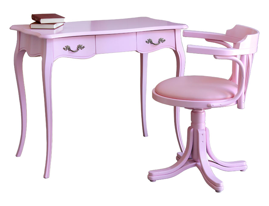 Pink Desk With Swivel Chair Girl Study Room Kids Bedroom Wooden