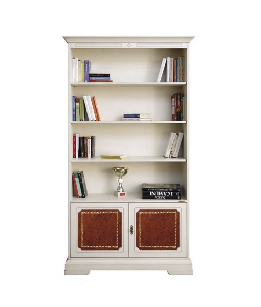 Tall bookcase in wood  with leather doors. Sku 201-RB