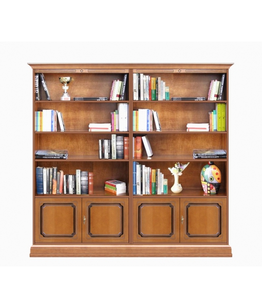 Double wide bookcase in wood, for living room, office, study room. Sku 202