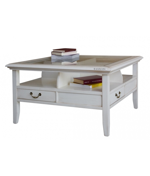 4-drawer coffee table with crystal countertop
