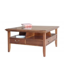 solid square coffee table, wooden coffee table, living room coffee table, solid wood, coffee table with drawers, Arteferretto