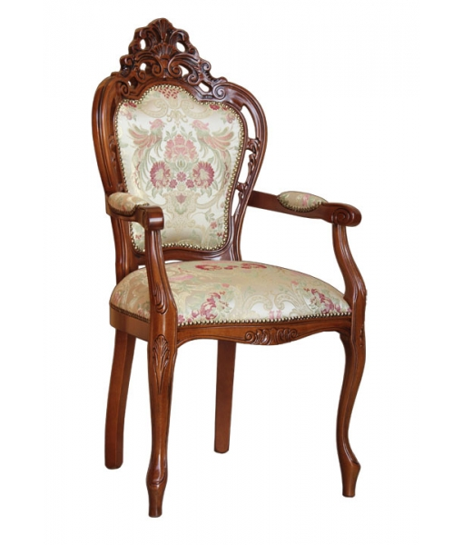 Pierced armchair in solid beech wood structure. Sku  2499. Fabric category: Super. Fabric code: SU-14