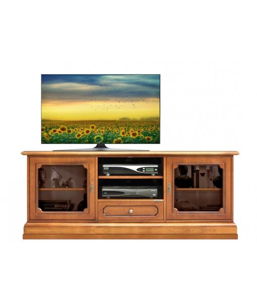Glass door tv cabinet in wood for living room. Sku  3059-LV