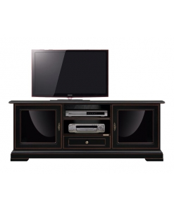 tv cabinet with exclusive design, black tv cabinet, living room furniture, tv cabinet with glass doors
