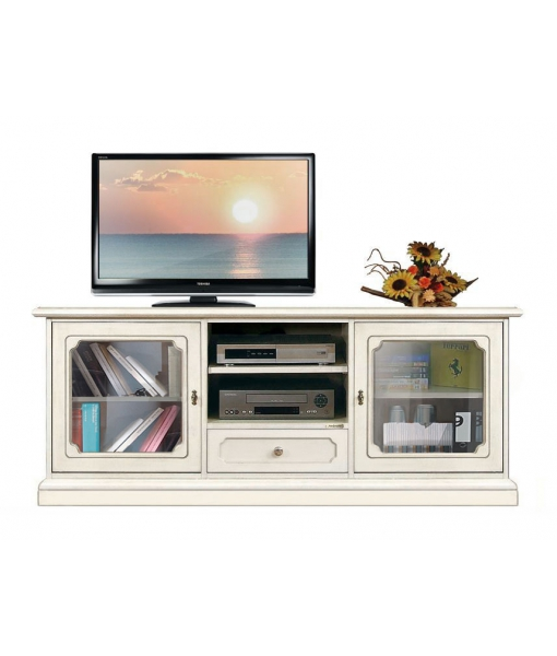 living room entertainment cabinet, wooden unit, entertainment Tv unit, lacquered TV unit, living room Tv stand, 2 glass door 1 drawer Tv unit, Arteferretto unit, Arteferretto funriture, classic furniture, classic TV cabinet, living room furniture in classic style