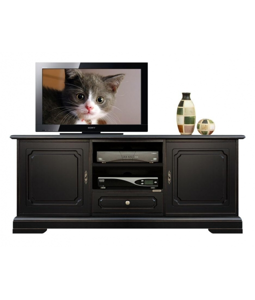 Living room black Tv unit in wood. Sku 3059-SZN