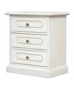 white nightstand, ivory nightstand, bedside table, wooden bedside table, lacquered 3 drawer nightstand, lacquered nightstand, wooden nightstand, wooden furniture, wooden lacquered furniture, bedroom furniture, cabinet with drawers, small white cabinet, 3 drawer cabinet, bedroom furnishings