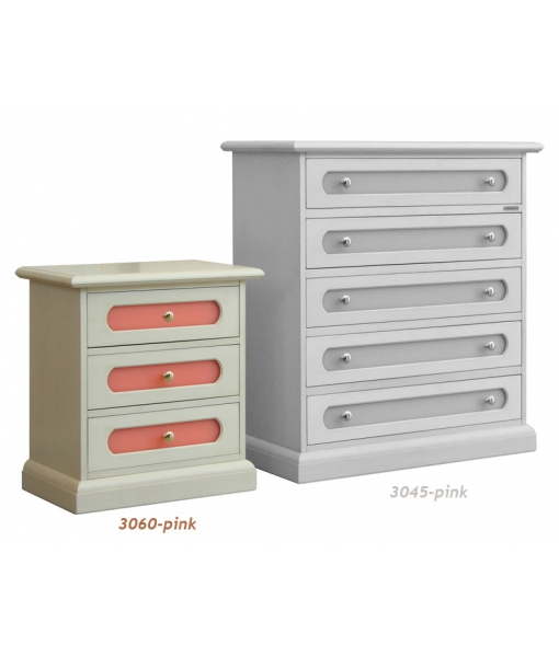 3-drawer nightstand with pink drawers. Product code: 3060-pink
