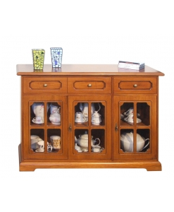3 glass door cupboard, wooden cupboard, 3 door cupboard, sideboard, wooden furniture, classic sideboard