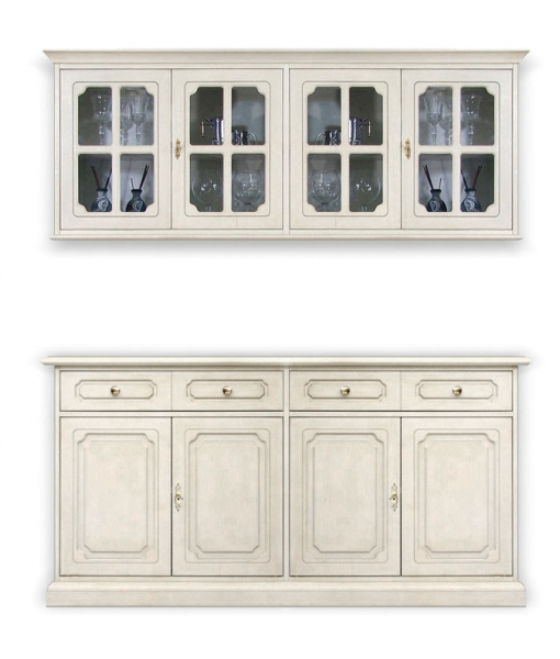 4 door sideboard with wall cabinet. Sku 3079-COM