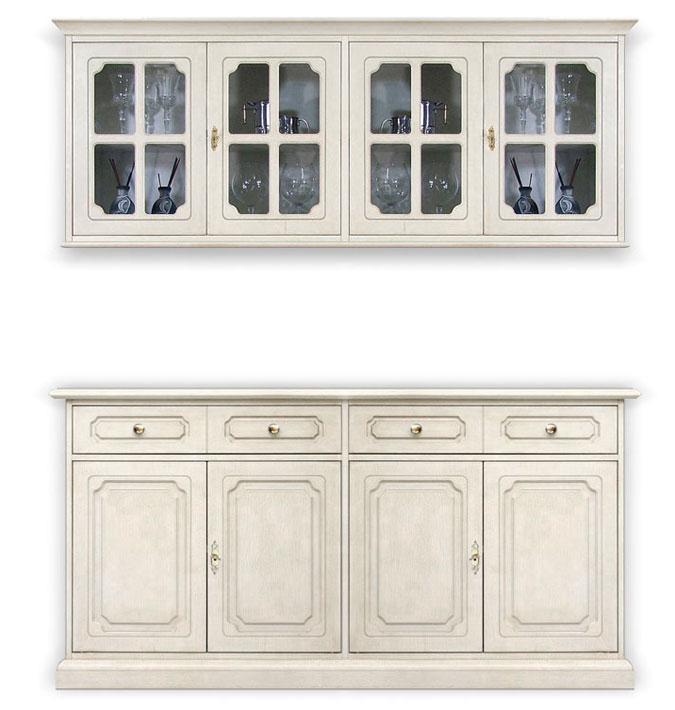 4 Door Sideboard Wall Cabinet, Wall Unit, Wood Kitchen