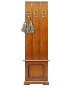 entryway furniture set in wood, hallway furniture set, wall coat and hat rack, storage chest