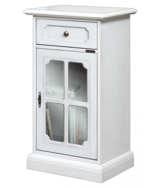 Lacquered small cabinet in white wood. Sku.3103-LAV