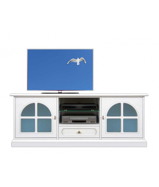 Blue glass Tv unit, rounded door. Sku 3159-bc