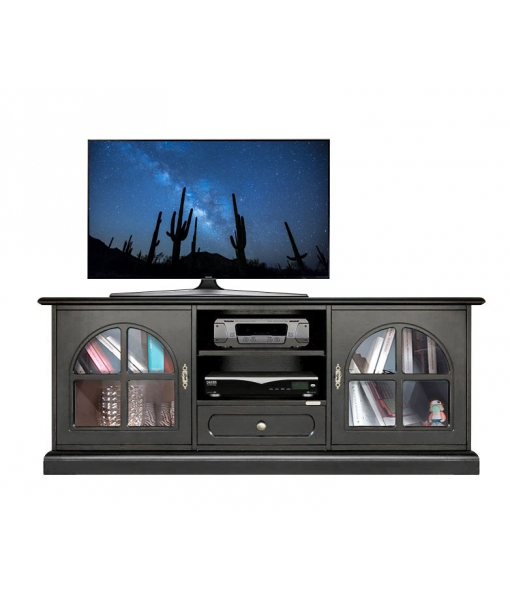 Black tv cabinet with display doors. Product code: 3159-Black