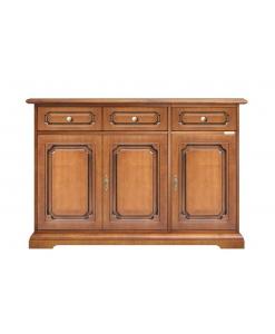 three-doors sideboard, sideboard, classic sideboard, wooden sideboard