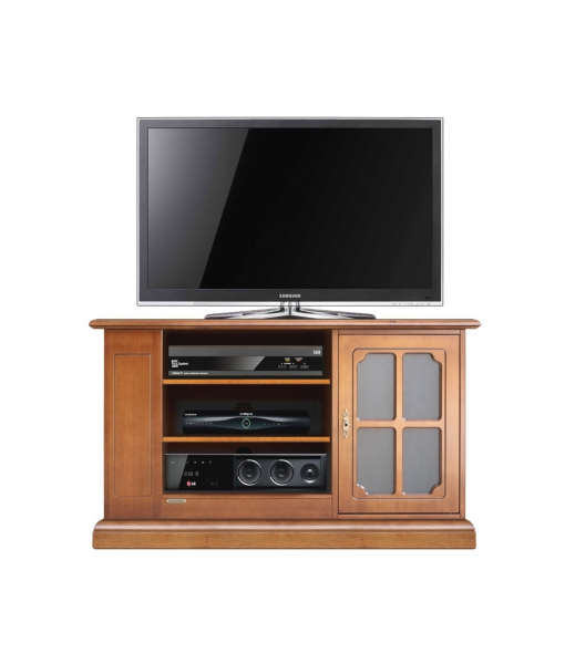 Wooden TV stand with side shelving. Sku 3651-L