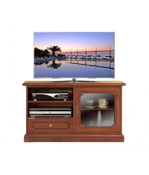 Small entertainment unit in wood with glass door. Sku 3824