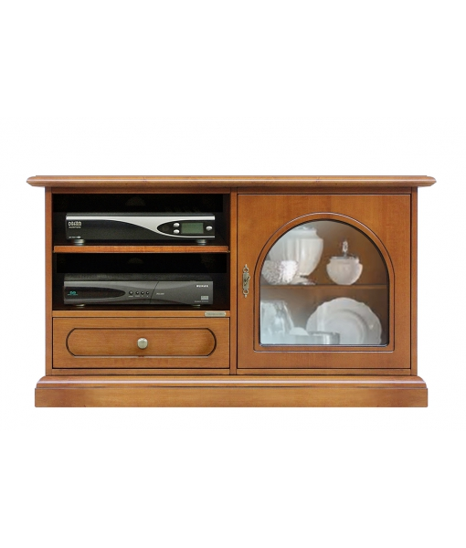 Small TV cabinet with rounded glass door. Sku 3825