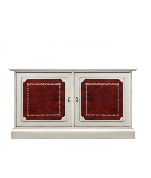 Low small sideboard with leather. Product code: 3839-redbul