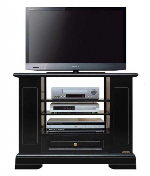Black tv stand cabinet with shelves. Product code: 4030-black