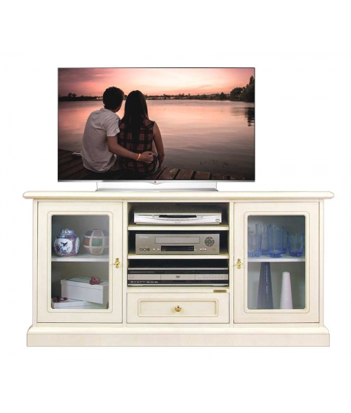 Entertainment TV cabinet in wood with glass doors. SKU. 4040-QV