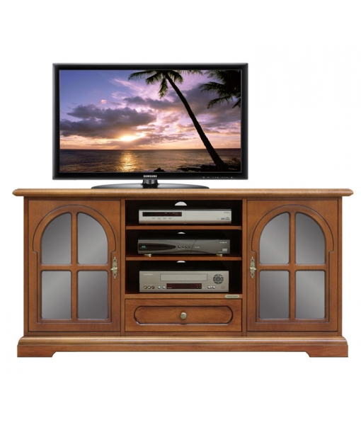 Classic tv stand cabinet with glass display doors. Code: 4040-TG
