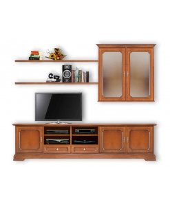Tv stand composition, tv stand, tv cabinet, wall composition, wall unit, living room furniture, wooden furniture, classic furniture