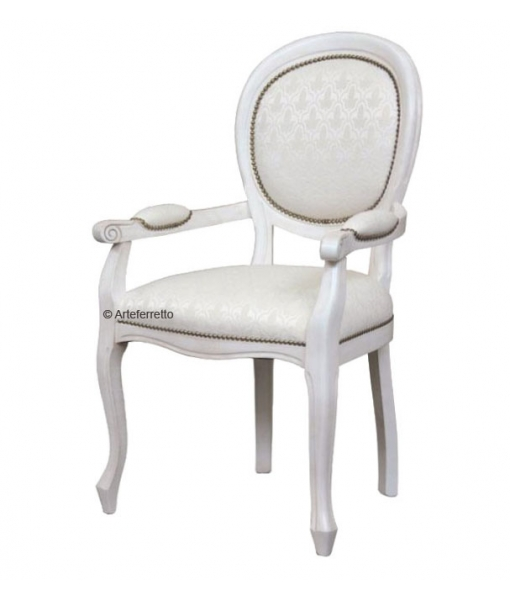 lacquered dining chair, wooden chair, chair with armrests, classic style chair, dining chair in wood, white chair, armrests chair, armchair, Classic dining room furniture, dining set