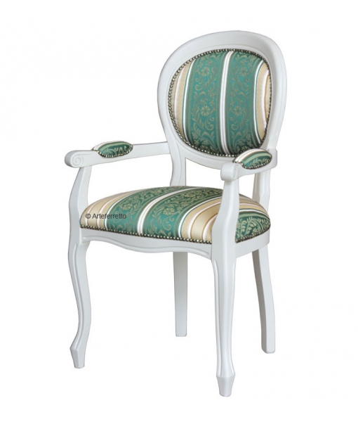 Lacquered dining chair with armrest, Wooden chair. Sku 431-BI