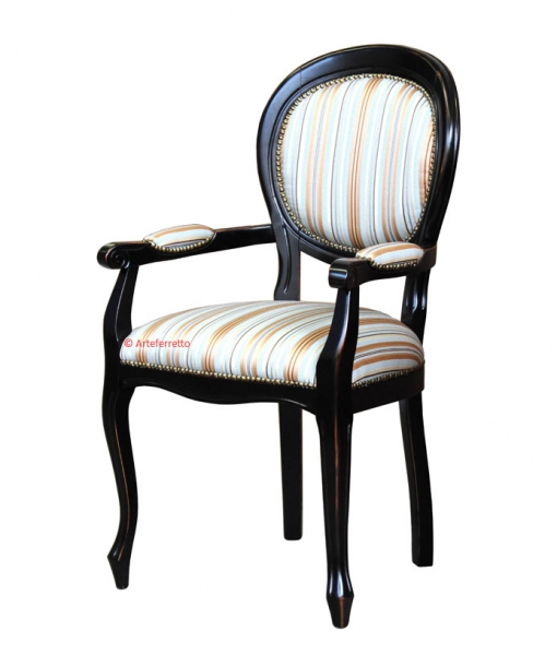 lacquered dining chair, wooden chair, chair with armrests, classic style chair, dining chair in wood, black chair, armrests chair, armchair, Classic dining room furniture, dining set
