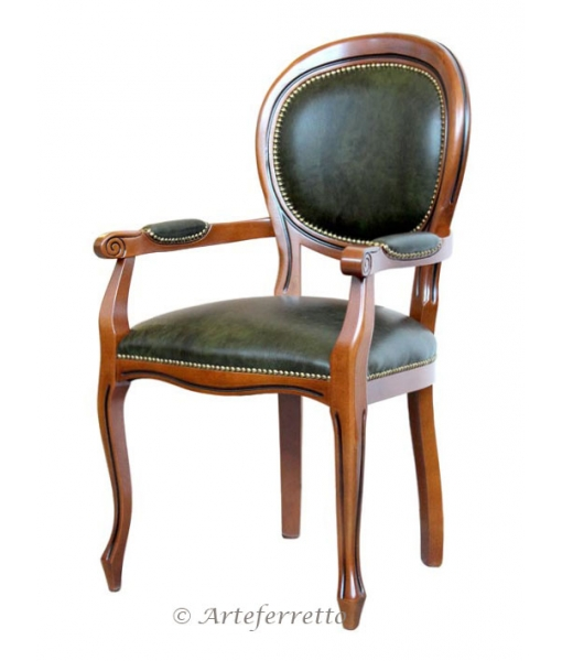 Classic dining chair with armrests. Sku 431-C_pelle