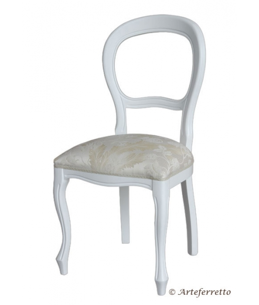 White chair in Louis Philippe style. Product code: 434-DS. Fabric code: ST-03