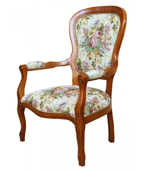 Louis Philippe upholstered armchair, living room armchair, reading armchair, classic style armchair, living room furniture, wooden armchair, solid wood armchair