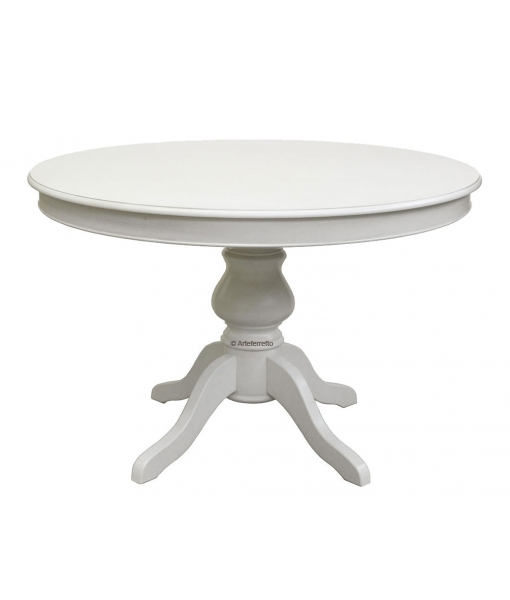 Dining table in woode, wooden table, round table, white table, kitchen table, Lacquered extendable table, round table, round table for kitchen, classic table for living room
