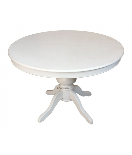 Lacquered extendable table, round table, round table for kitchen, classic table for living room