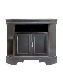 black corner tv cabinet, black cabinet, corner cabinet in wood, black furniture, tv stand living room corner, tv corner, living room furniture