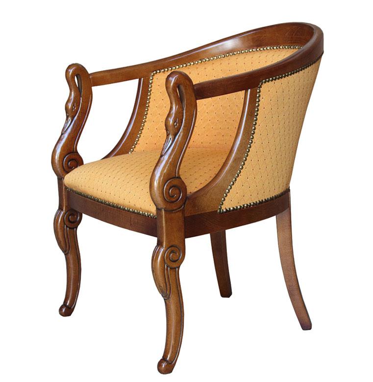 Small Armchair, Armchair, Carved Armchair, Swan Armchair, Wooden Armchair,  Elegant Armchair