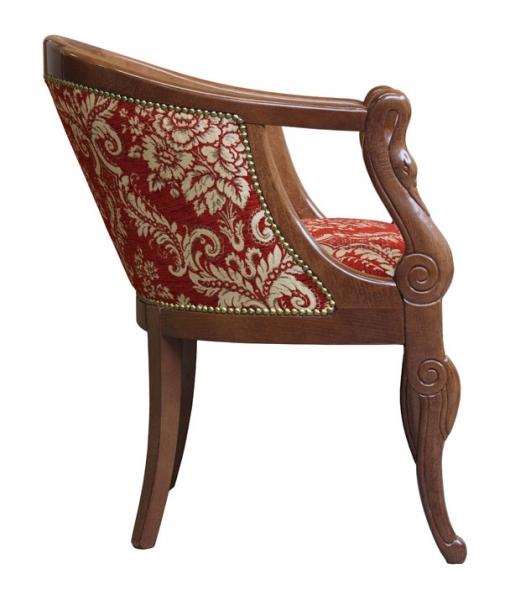 small armchair, armchair, carved armchair, swan armchair, wooden armchair, elegant armchair, upholstered armchair, padded armchair