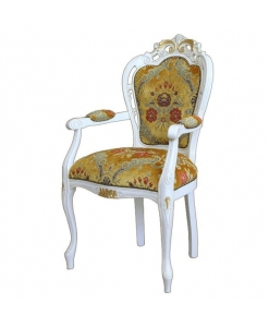 carved armrest chair, head chair, classic chair, white and gold chair, classic furniture, wooden chair, white chair, upholstered chair